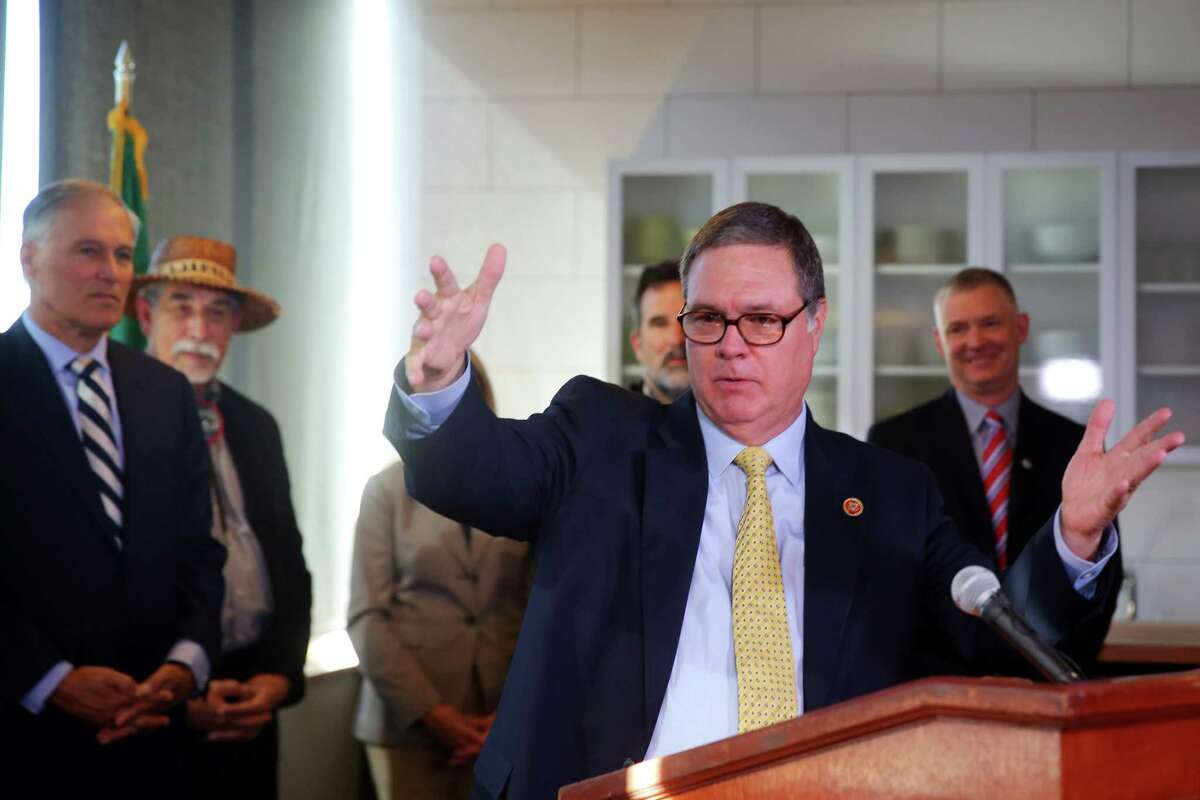 U.S. Rep. Denny Heck speaks during a press conference announcing new federal actions to protect and recover the health of Puget Sound, the nation's largest estuary, Oct. 18, 2016. Similar actions have been taken in recent years to protect Chesapeake Bay and the Great Lakes.