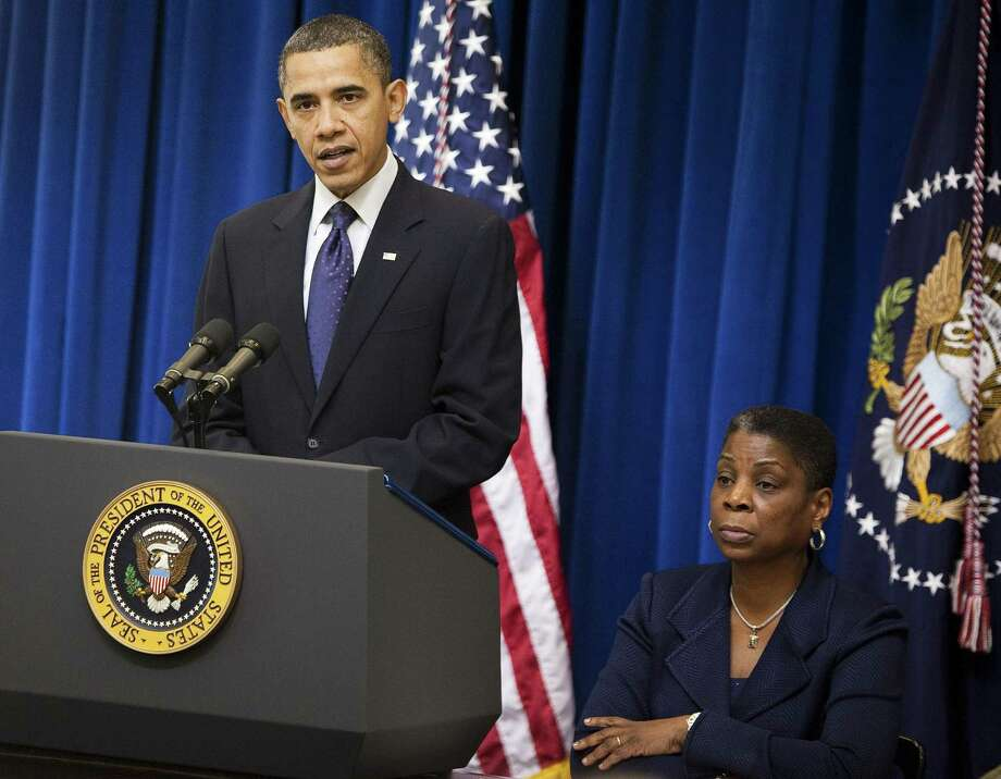 Outgoing Xerox CEO Ursula Burns alongside President Barack Obama in December 2010. Photographer: Joshua Roberts/Bloomberg *** Local Caption *** Barack Obama; Ursula Burns Photo: Joshua Roberts / ST / © 2010 Bloomberg Finance LP