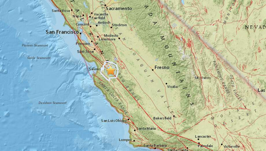 Map image of the epicenter of a magnitude 3.9 earthquake that struck outside of Ridgemark, Calif. on Tuesday afternoon. Photo: USGS