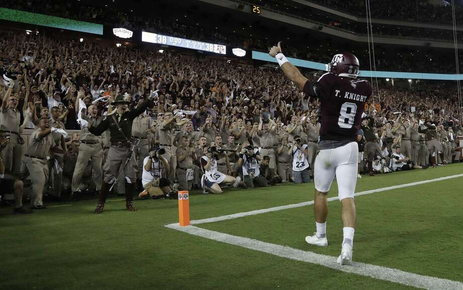 Texas A&M quarterback Trevor Knight celebrates his touchdown with the fans in the end zone during the second overtime against Tennessee at Kyle Field on Oct. 8, 2016 in College Station. Photo: Karen Warren /Houston Chronicle / 2016 Houston Chronicle