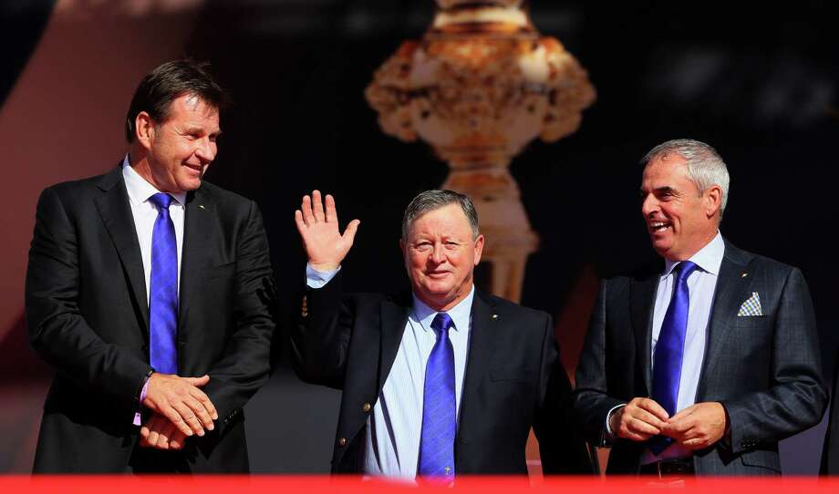 CHASKA, MN - SEPTEMBER 29: Former Ryder Cup captains Nick Faldo, Ian Woosnam and Paul McGinley attend the 2016 Ryder Cup Opening Ceremony at Hazeltine National Golf Club on September 29, 2016 in Chaska, Minnesota.  (Photo by Andrew Redington/Getty Images) ORG XMIT: 672193923 Photo: Andrew Redington / 2016 Getty Images
