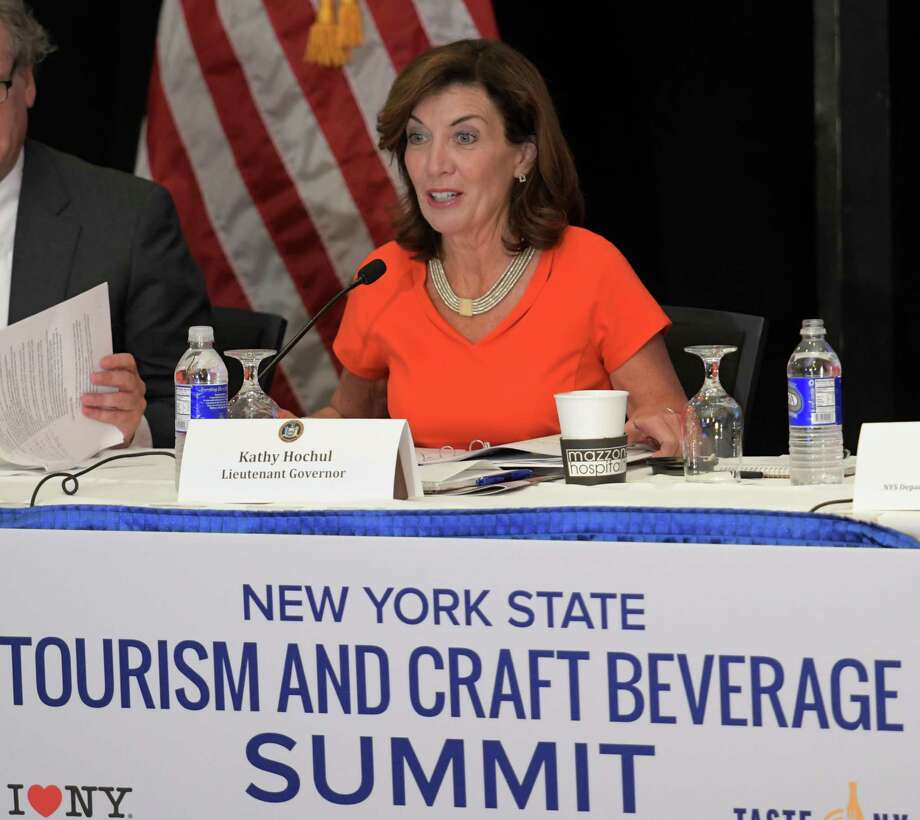 Lt. Governor Kathy Hochul chairs the 2016 New York State Tourism and Craft Beverage Summit in the Hart Theatre at the Empire State Plaza Tuesday Oct. 18, 2016 in Albany ,  N.Y.   (Skip Dickstein/Times Union) Photo: SKIP DICKSTEIN / 20038440A