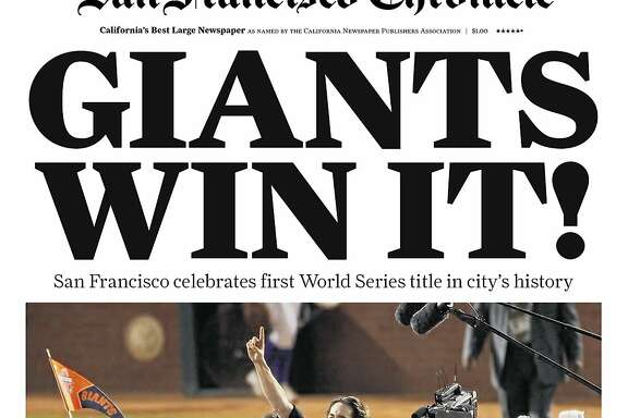 Historic Chronicle Front Page November 02, 2010  San Francisco Giants win the cities' first World Series  Chron365, Chroncover