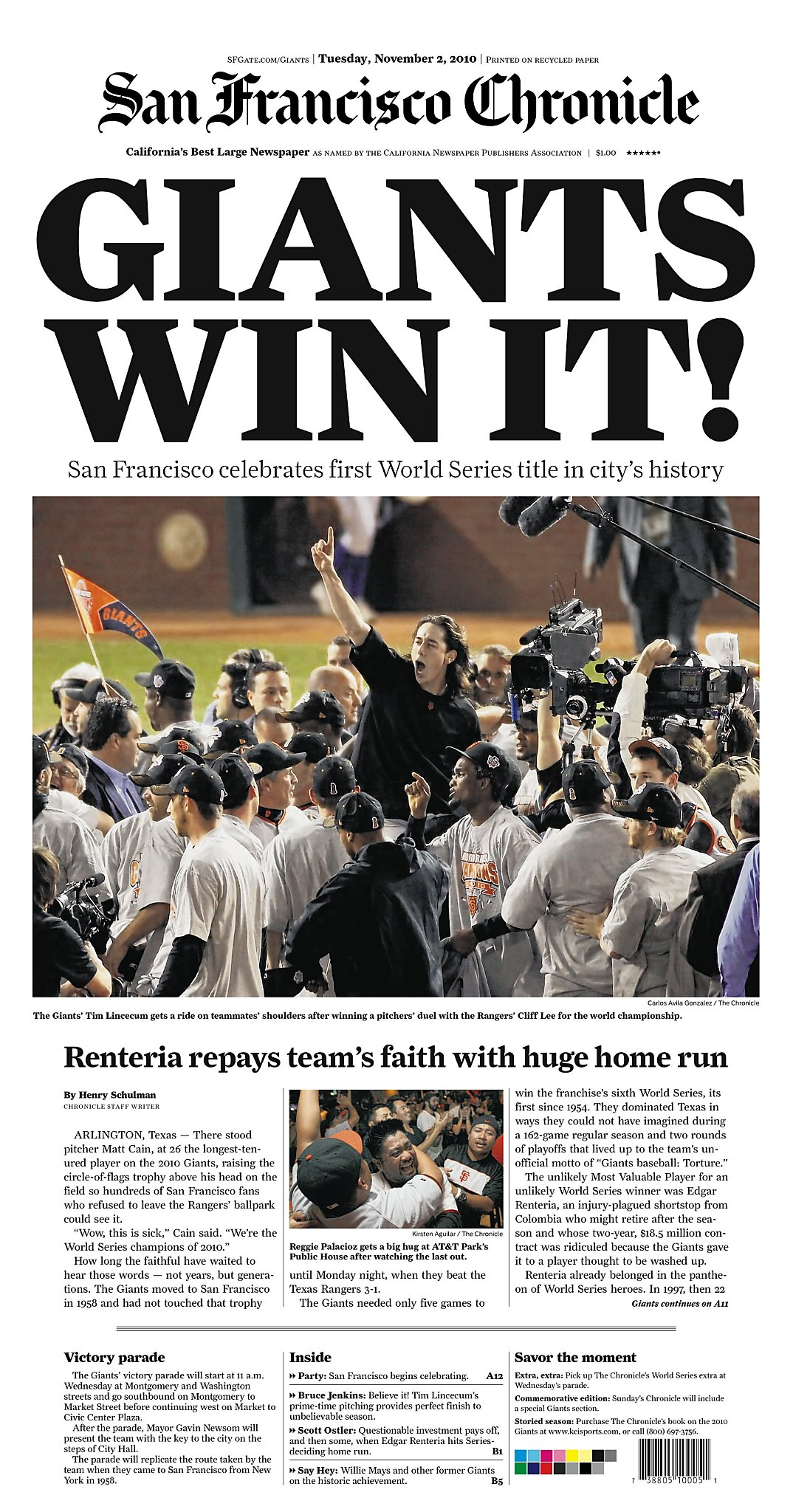 Chronicle Covers: Giants' torturous road to their first SF ...