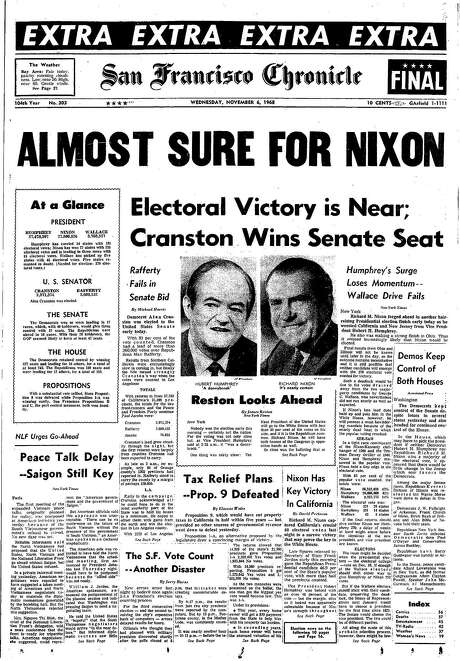 The Chronicle's front page from Nov. 6, 1968, covers Richard Nixon's lead in the presidential election. Photo: The Chronicle 1968
