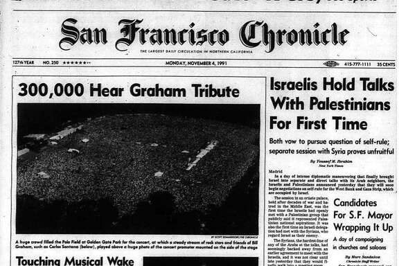 Historic Chronicle Front Page November 04, 1991 Over 300,000 attend memorial concert honoring Bill Graham in Golden Gate Park  Chron365, Chroncover