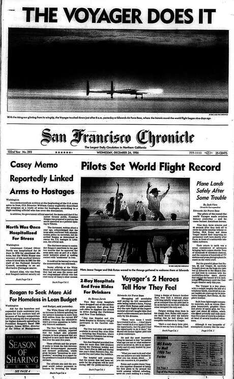 The Chronicle's front page from Dec. 24, 1986, covers the Voyager's record-breaking flight. Photo: The Chronicle 1986