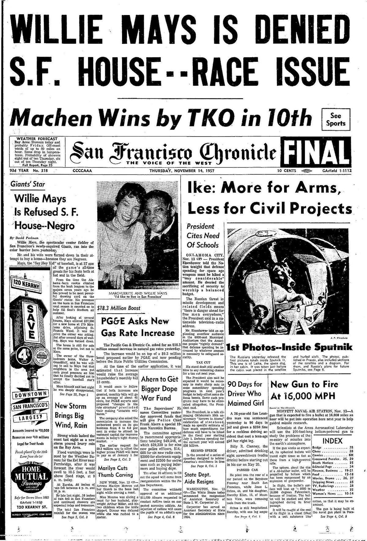 Historic Chronicle Front Page November 14, 1957 Willie Mays is denied his plan to buy a house in San Francisco, because of his race Chron365, Chroncover