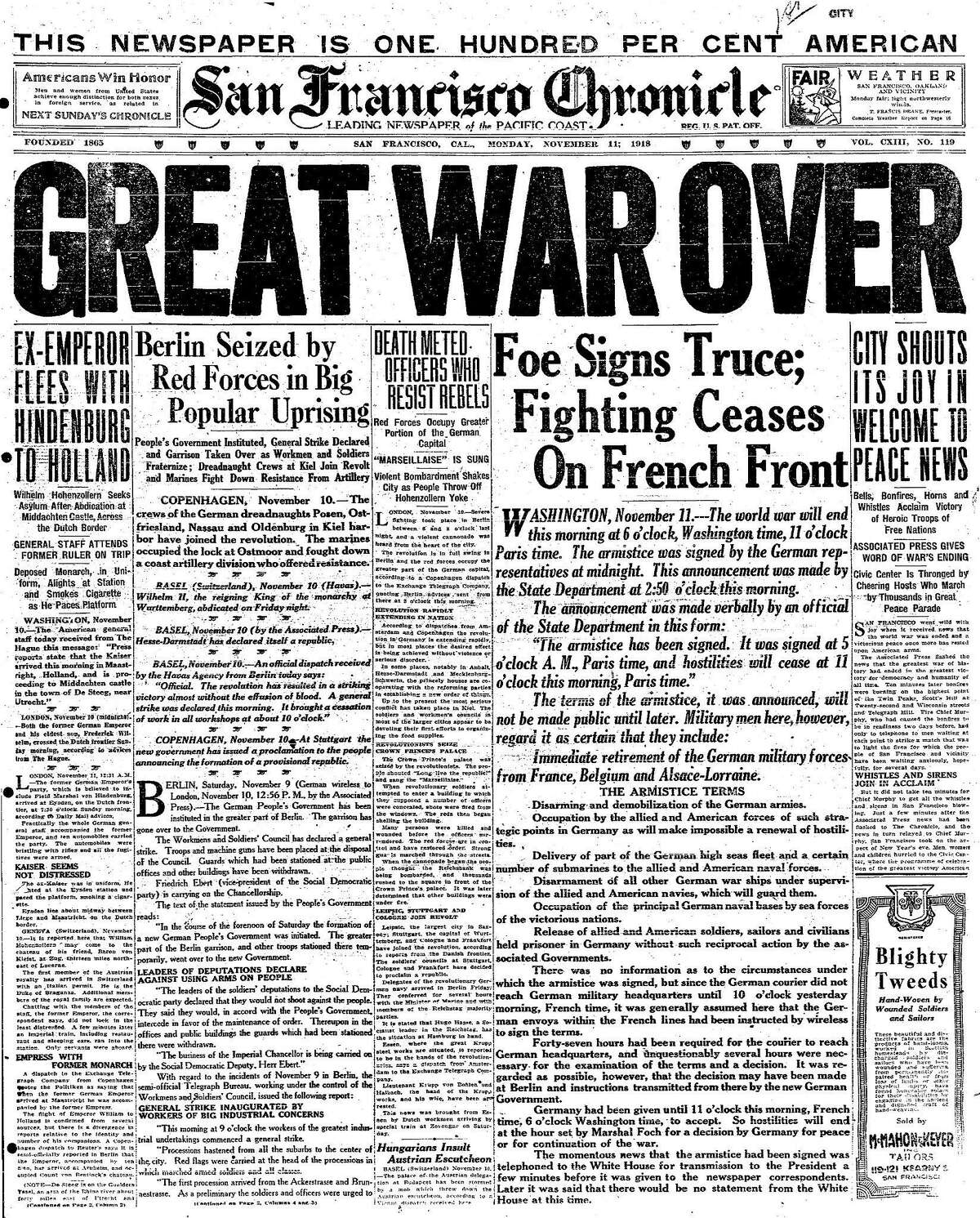 Historic Chronicle Front Page November 11, 1918 Peace, World War I Ends Chron365, Chroncover