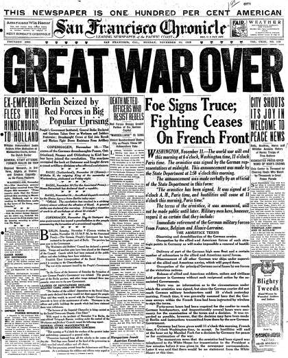 Chronicle Covers: World War I's end after 16 million lives lost
