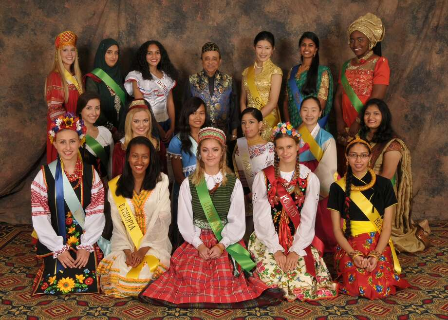 Miss Festival of Nations contestants with chairman Manoj Ajmera (Photo courtesy of Festival of Nations)