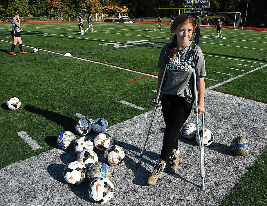 Norwalk High girls soccer senior Caitlin Thibault had her second straight season end due to a knee injury. Thibault has been a positive spirit around the program for four years. Photo: John Nash / Hearst Connecticut Media / Norwalk Hour