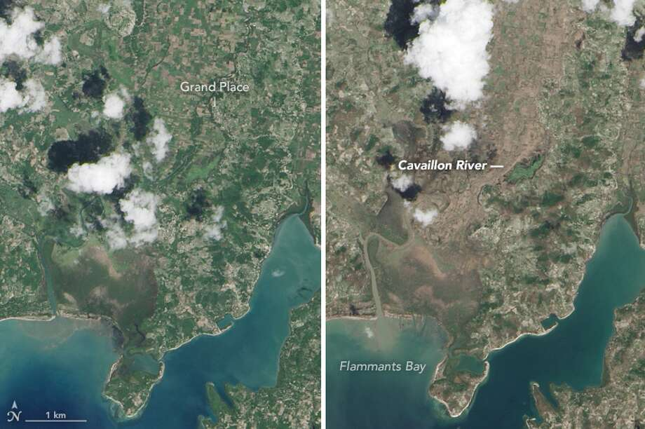 NASA's Earth Observatory captured images of Haiti a week before and after Hurricane Matthew hit. The images show Haiti on Sept. 26 and Oct. 12. Click through to see the before and after satellite images. Photo: NASA Earth Observatory