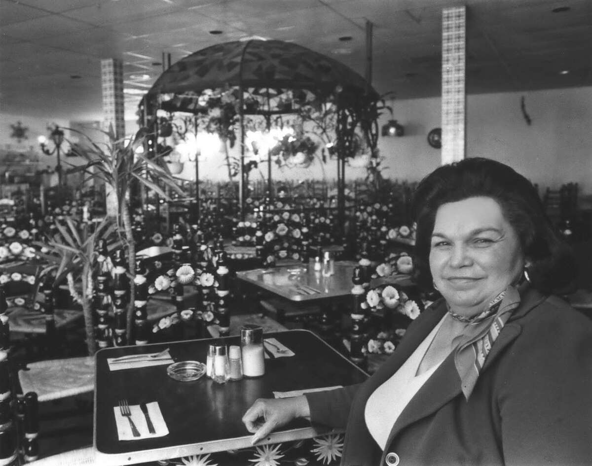 Mama Ninfa Laurenzo at her restaurant, Ninfa's, in 1978. Ninfa's was founded in 1973 and quickly gained a national reputation; 50 locations were opened in multiple cities.