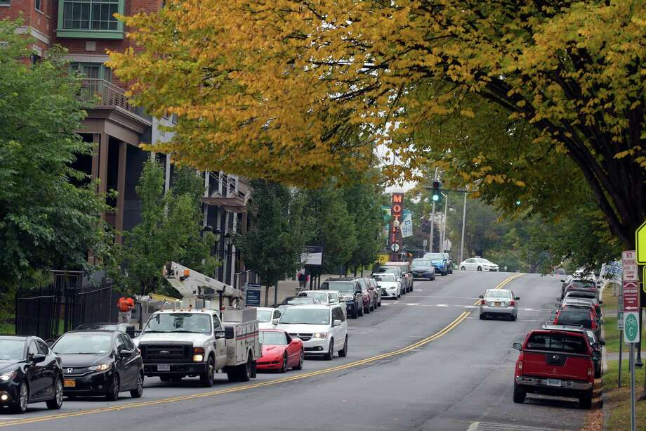 A view looking south along Broadway near Congress Park in the south end of town on Monday, October 17, 2016, in Saratoga Springs, N.Y.   (Paul Buckowski / Times Union) Photo: PAUL BUCKOWSKI / 20038414A