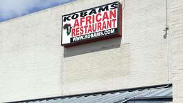 Kobams African Restaurant shares a Grissom Road strip mall with two churches and a bingo parlor.