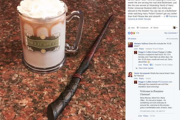 """All the Harry Potter Films are playing in IMAX this week! We are serving the real deal Butterbeer, just like the one served at Wizarding World of Harry Potter Universal Studios! AND Our drinks are allowed in the theater! You can sip on a Butterbeer while watching Harry Potter! Doesn't get any better than that! Please like and share!!!"""