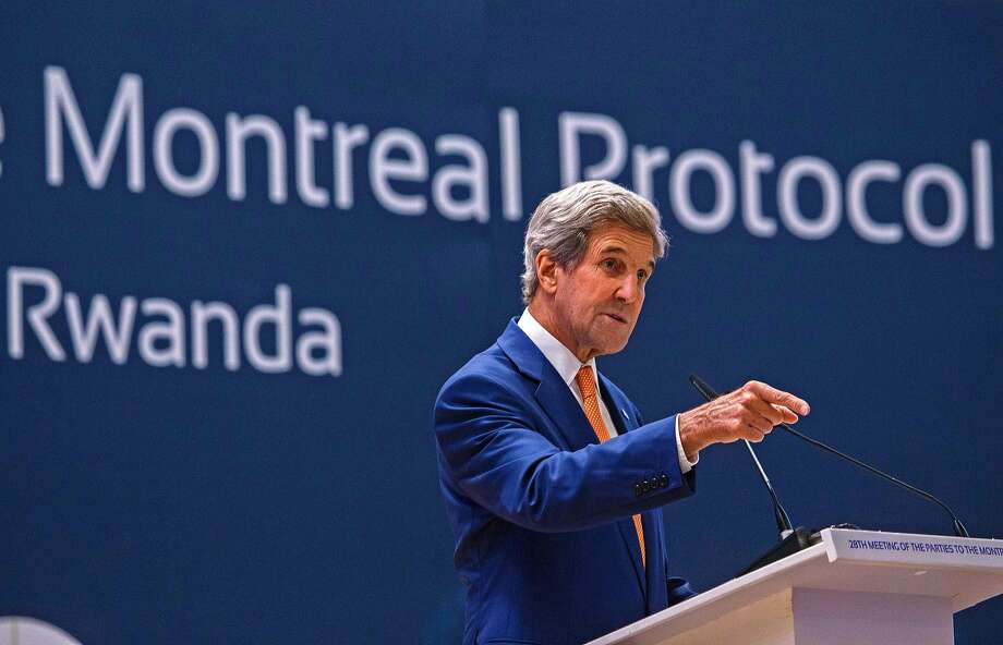 Secretary of State John Kerry made a big push in Kigali to phase out gases used in refrigerators and air conditioners. Photo: CYRIL NDEGEYA, AFP/Getty Images