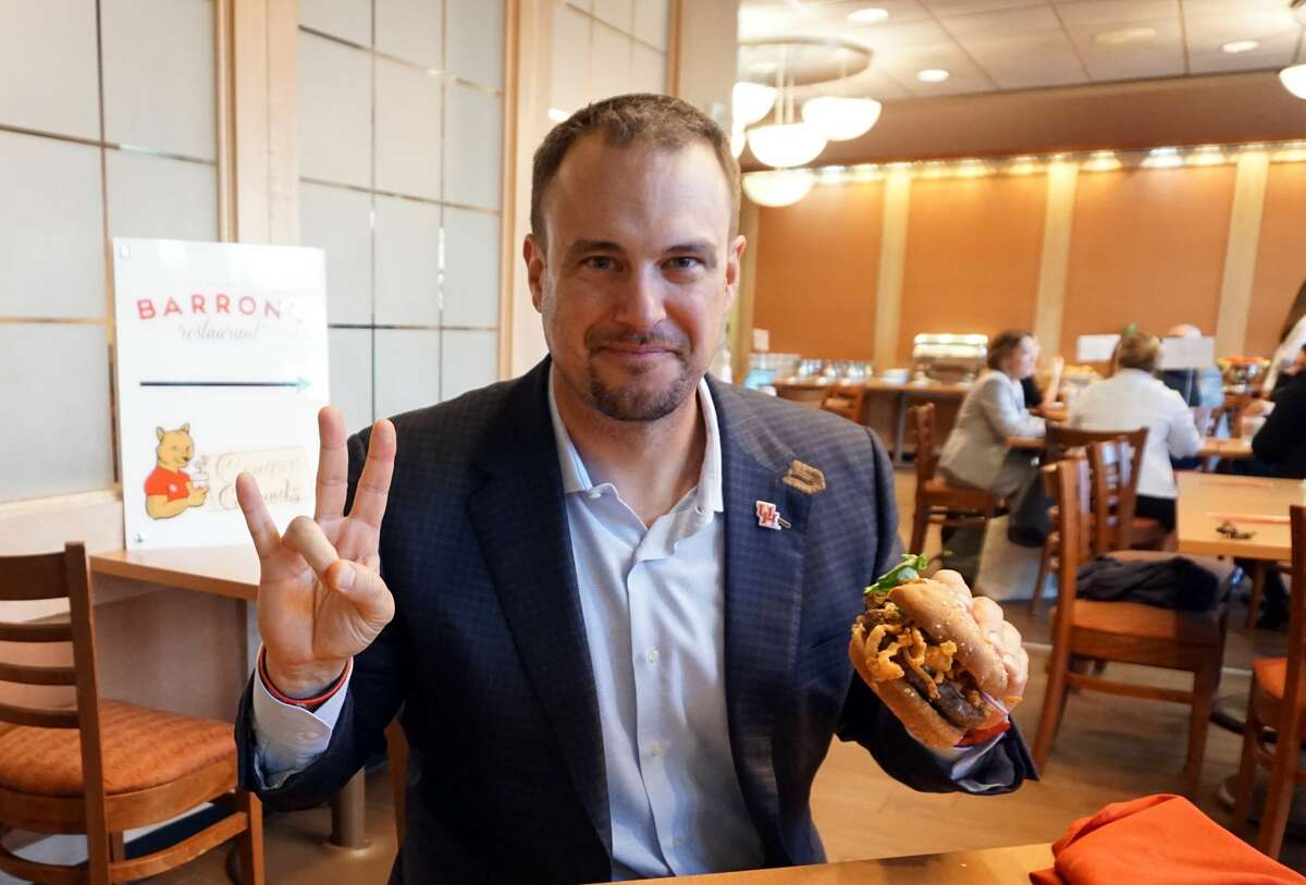 The Tom Herman Burger is available at Barron's, the student-run restaurant at Hilton College on the University of Houston campus.
