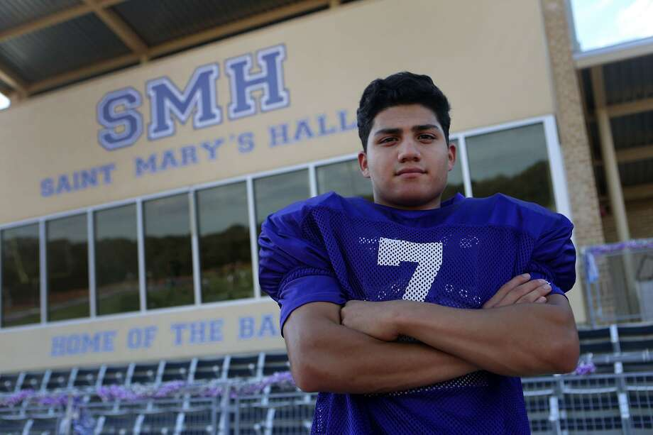 Saint Mary's Hall defensive back and running back Jesse Llamas is only 5-foot-4 and is among the area leaders in interceptions. He had three in Friday's 32-29 win over S.A. Christian. Photo: John Davenport /San Antonio Express-News / ©San Antonio Express-News/John Davenport