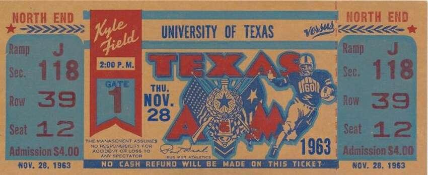 Nov. 28, 1963 : No. 1 Texas defeats Aggies, 15-13 All-time record vs. AP No. 1: 0-3