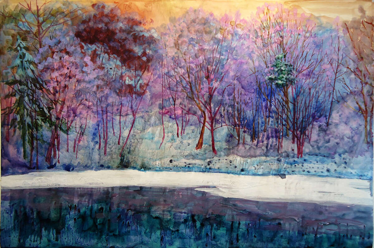 """Chantie Rory's landscapes (60"""" x 40"""" in oil, ink, gesso and self-serving gel) at Watervliet Public Library. Through Nov. 8."""