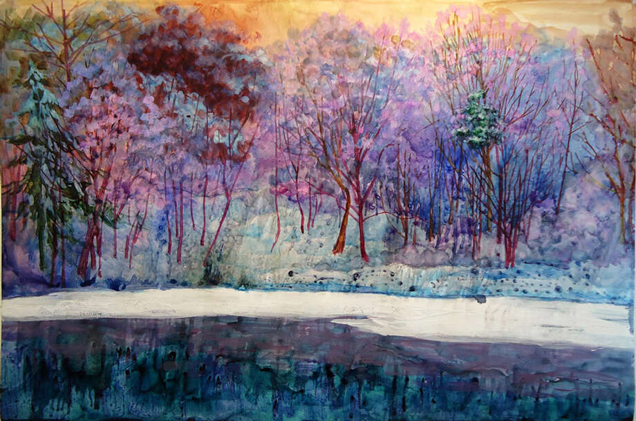 "Chantie Rory's landscapes (60"" x 40"" in oil, ink, gesso and self-serving gel) at Watervliet Public Library. Through Nov. 8."