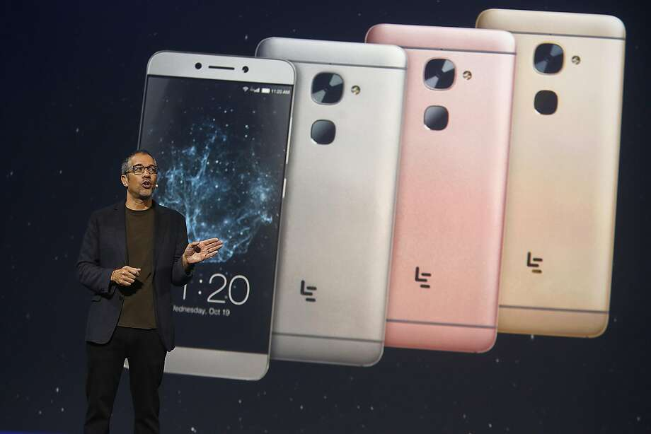 LeEco chief research and development officer Rob Chandhok talks about the smartphone's features in San Francisco. Photo: Liz Hafalia, The Chronicle