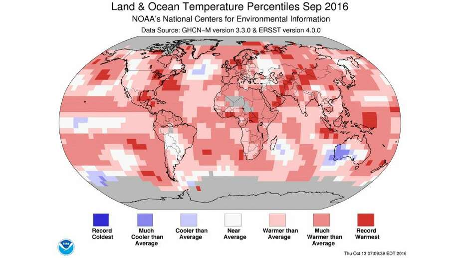 Land and ocean temperatures - Sept 2016 Photo: NOAA