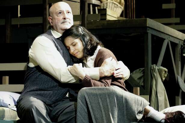 "Jim Mammarella and Jessica Salazar play father and daughter in the Sheldon Vexler Theatre's stating of ""The Diary of Anne Frank."""