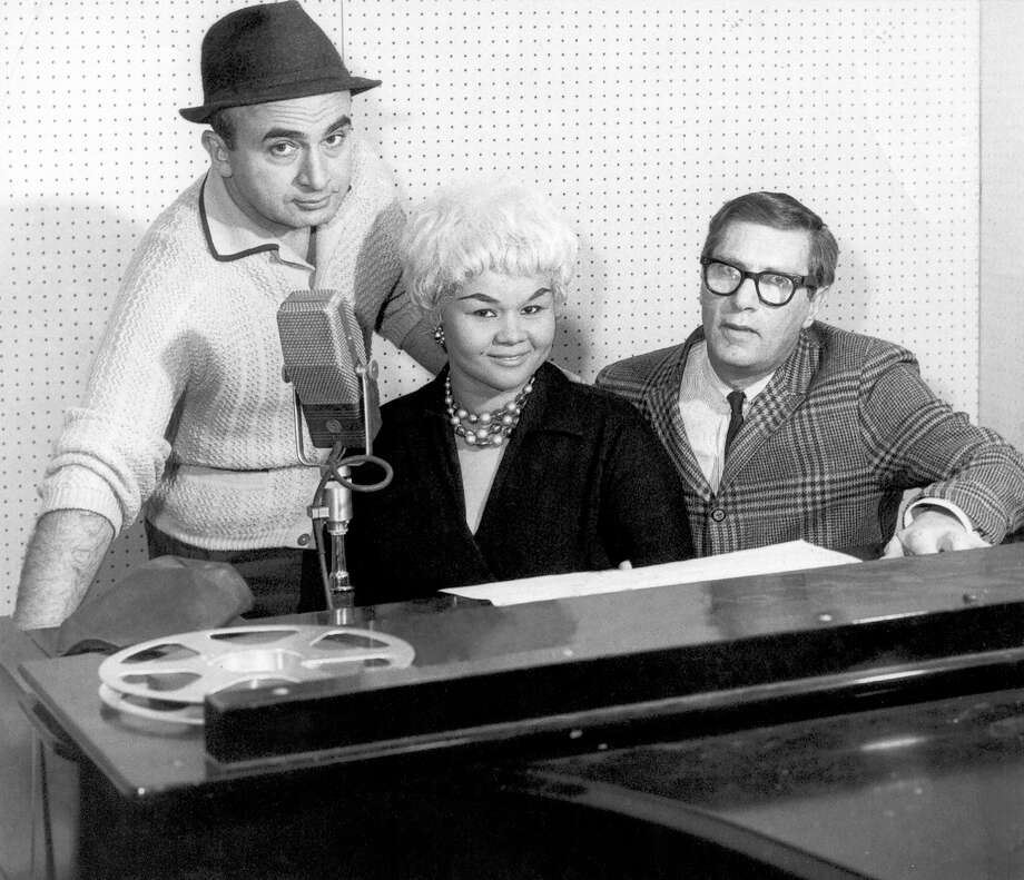 Chess Records founder Phil Chess, left, R&B singer Etta James and record producer Ralph Bass pose for a portrait at Chess Records Studios in 1960 in Chicago. Photo: Michael Ochs Archives