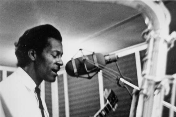 Chuck Berry in Chess Records recording studio circa 1960 in Chicago.