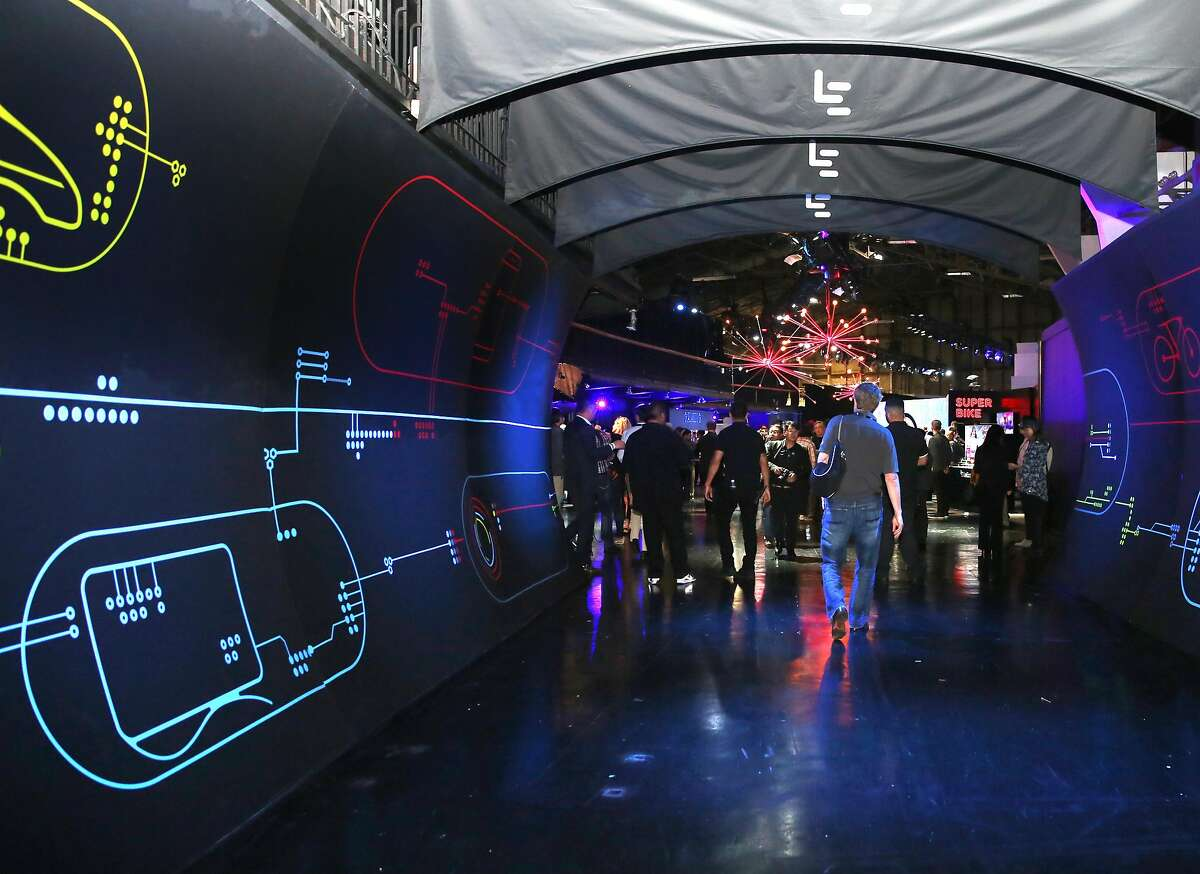 'view to the entrance of the demonstration area of LeEco as they announce their products on Wednesday, October 19,2016, in San Francisco, Calif.