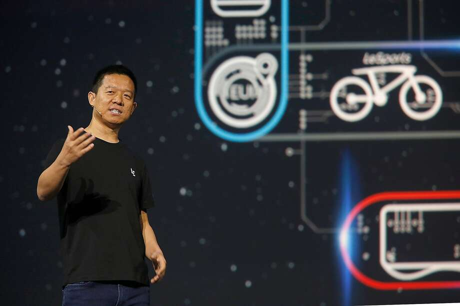 "Yueting Jia, founder and CEO of the Chinese electronics company LeEco, announces new products in October 2016 in San Francisco. LeEco and TV manufacturer Vizio said Monday that they had called off their $2 billion merger, citing ""regulatory headwinds."" Photo: Liz Hafalia, The Chronicle"