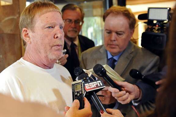 Oakland Raiders owner Mark Davis speaks to the media at the NFL fall meetings, Wednesday, Oct. 19, 2016, in Houston. (AP Photo/Eric Christian Smith)