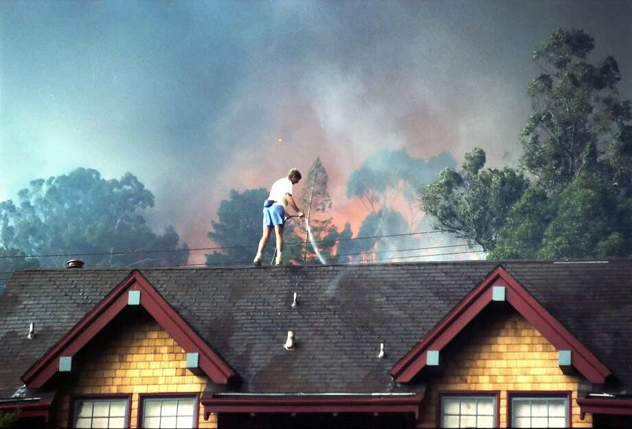 Against a backdrop of flames and smoke, a man uses a garden hose to wet his roof as the deadly Oakland hills fire rages.. Photo: Fred Larson, The Chronicle