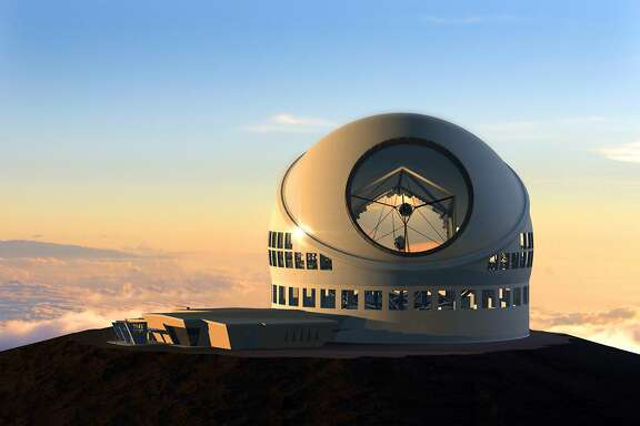 FILE - This undated file artist rendering made available by the TMT Observatory Corporation shows the proposed Thirty Meter Telescope, planned to be built atop Mauna Kea, a large dormant volcano in Hilo on the Big Island of Hawaii in Hawaii. The attorney representing a group fighting to stop the giant telescope from being built on Mauna Kea is withdrawing from the case. Richard Naiwieha Wurdeman says he has scheduling conflicts with a contested case hearing scheduled to begin next week. (TMT Observatory Corporation via AP, File)