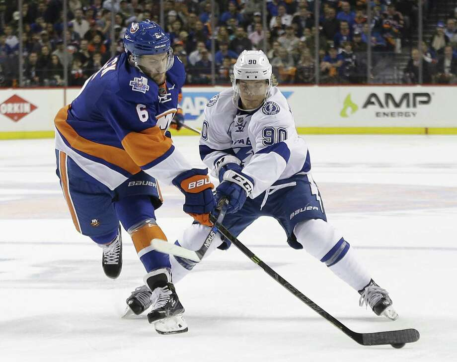 The Islanders recalled defenseman Ryan Pulock (6) from the Sound Tigers on Wednesday. Photo: Frank Franklin II / Associated Press / Copyright 2016 The Associated Press. All rights reserved. This material may not be published, broadcast, rewritten or redistribu