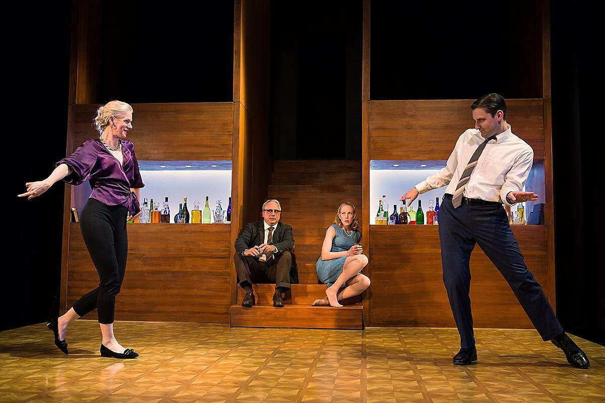 "Beth Wilmurt as Martha,�David Sinaiko as George. Megan Trout as Honey and Josh Schell as Nick in Shotgun Players' ""Who's Afraid of Virginia Woolf?"""