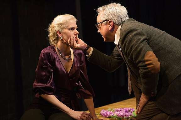 "Beth Wilmurt (left) as Martha and David Sinaiko as George in Shotgun Players' ""Who's Afraid of Virginia Woolf?"""