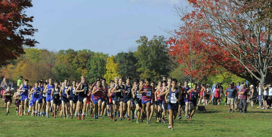 Runners compete in the FCIAC Boys Cross Country Championship at Waveny Park in New Canaan, Conn. on Wednesday, Oct. 19 2016. Photo: Matthew Brown / Hearst Connecticut Media / Stamford Advocate