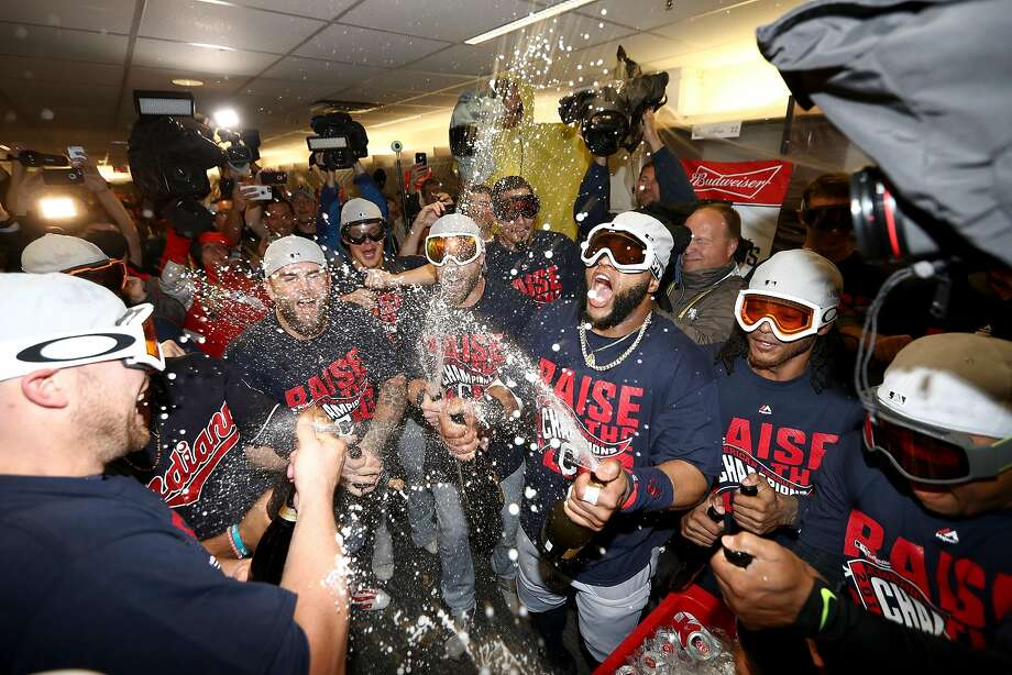 The Indians pop the bubbly after closing out the Blue Jays with a 3-0 win in Toronto. Photo: Elsa, Getty Images