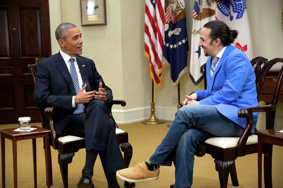 President Barack Obama, Lin-Manuel Miranda   Photo Credits: Chuck Kennedy, The White House / This photograph is provided by THE WHITE HOUSE as a courtesy and may be printed by the subject(s) in the photograph for personal use only. The photograph may not be manipulated in any way and may not otherwise be reproduced, disseminated or broadcast, without the written permission of the White House Photo Office. This photograph may not be used in any commercial or political materials, advertisements, emails, products, promotions that in any way suggests approval or endorsement of the President, the First Family, or the White House.