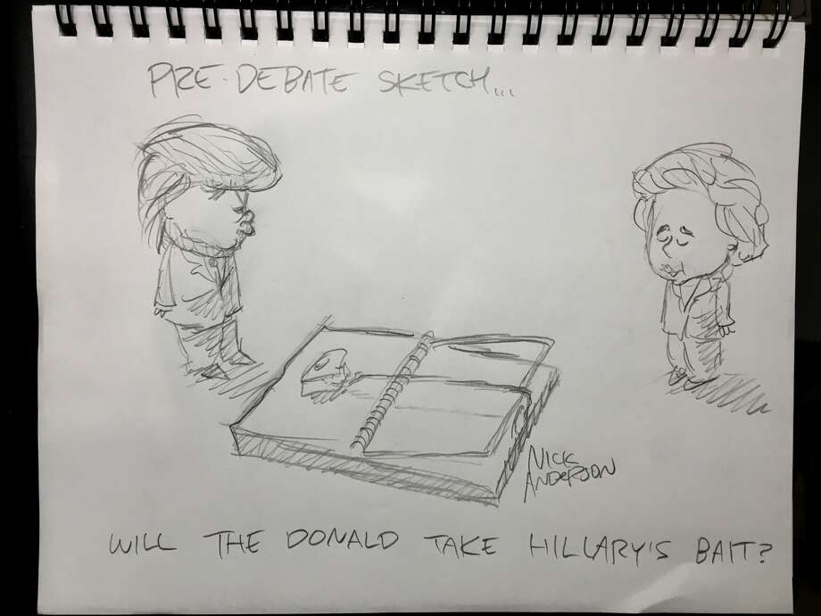 """""""Will The Donald take Hillary's bait?""""Houston Chronicle editorial cartoon writer Nick Anderson """"live sketches"""" the final presidential debate. Photo: Nick Anderson"""