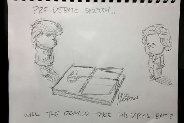 "Houston Chronicle editorial cartoon writer Nick Anderson ""live sketches"" the final presidential debate."
