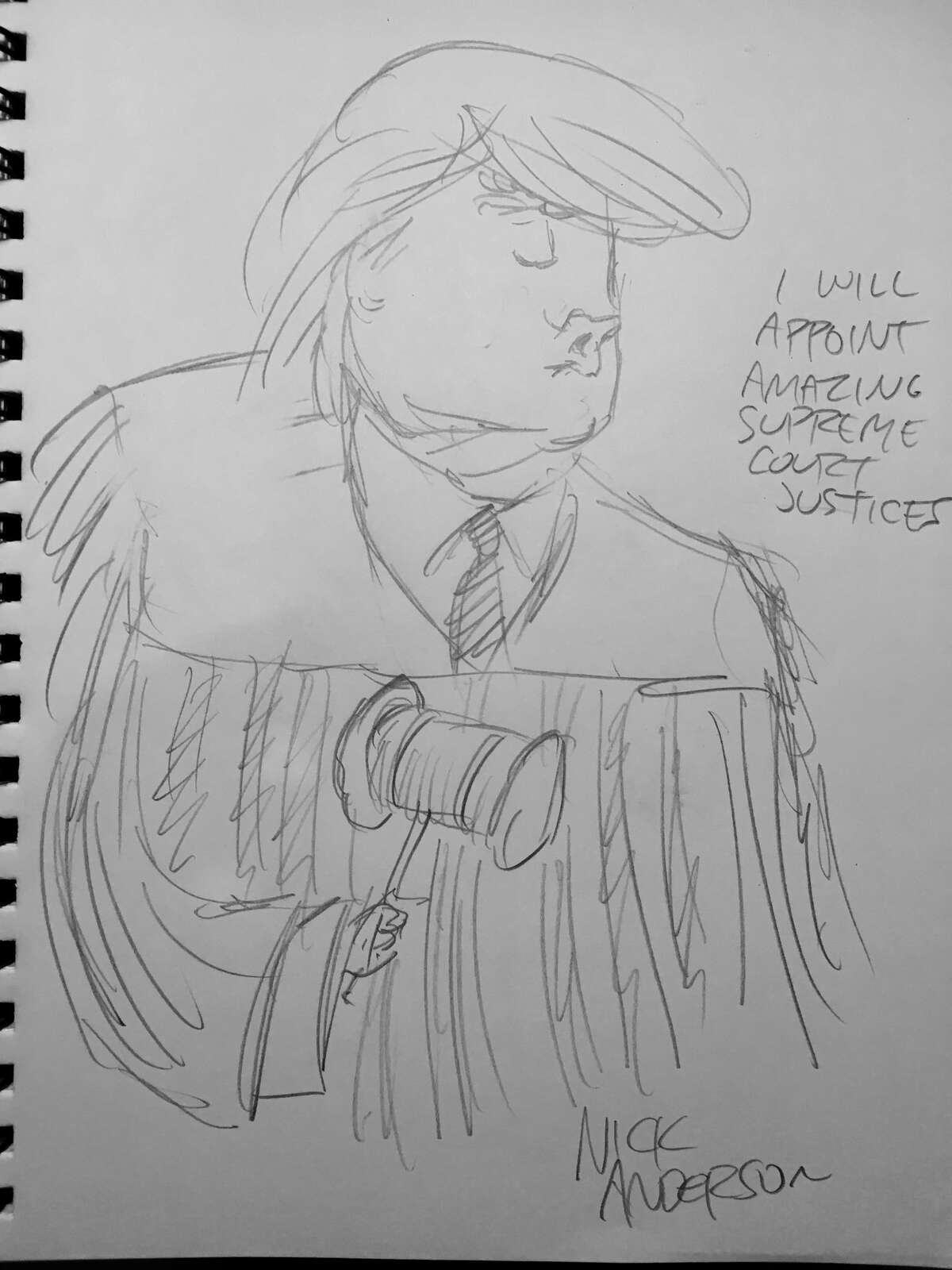 """""""I will appoint amazing Supreme Court justices."""" Houston Chronicle editorial cartoon writer Nick Anderson """"live sketches"""" the final presidential debate."""