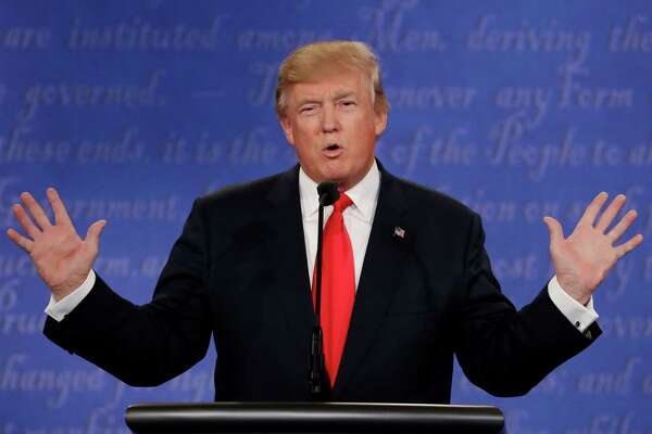 Republican presidential nominee Donald Trump speaks during the third presidential debate with Democratic presidential nominee Hillary Clinton at UNLV in Las Vegas, Wednesday, Oct. 19, 2016. (AP Photo/David Goldman)
