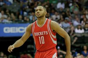 Houston Rockets guard Eric Gordon (10) stands on the court during the first half of an NBA preseason basketball game against the Dallas Mavericks Wednesday, Oct. 19, 2016, in Dallas. (AP Photo/LM Otero)