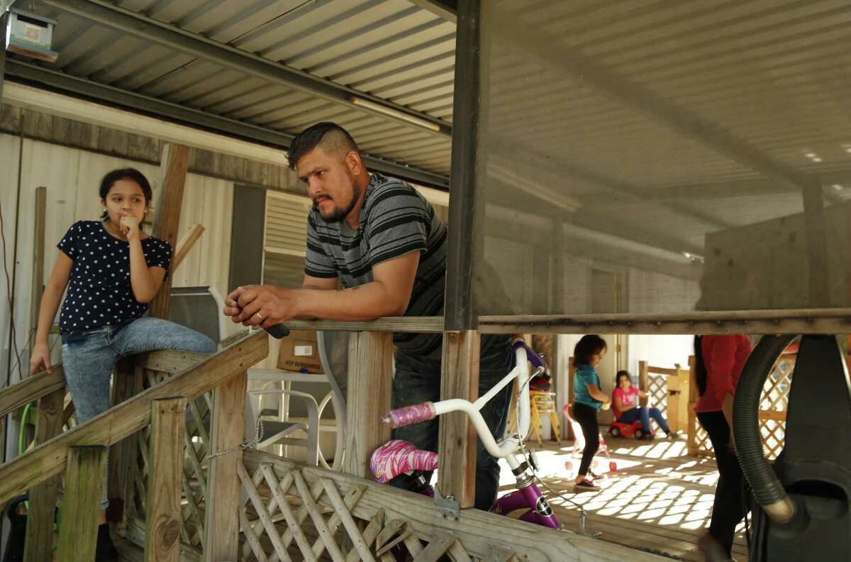 Luis Canelo and his family, seen on Oct. 19, 2016, were living at the Oak Hollow Mobile Home Park when 12 families had to be evacuated because of substandard living conditions.