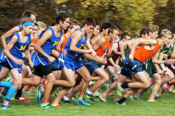 THEOPHIL SYSLO | For the Daily News High School varsity boy runners take off at the starting line while competing in the Saginaw Valley League cross country championship at Delta College on Wednesday.